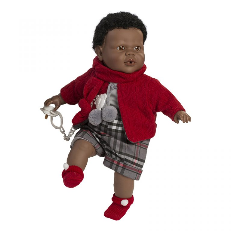 Muñeco Alex negrito lloron chaqueta roja