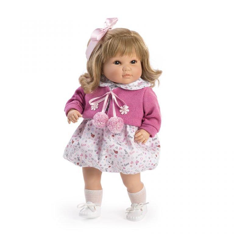 Muñeca Habladora Sandra chaqueta rosa 42 cm