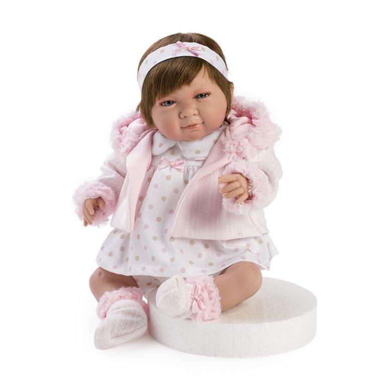 Paula llorona con chaqueta de pelo rosa 45 cm