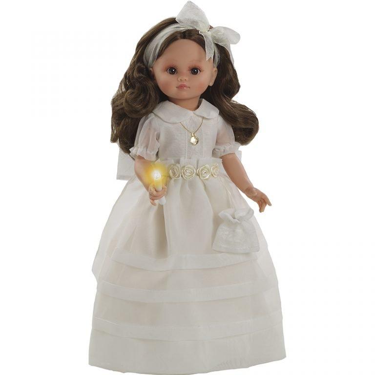 Fany comunion morena vestido beig flores