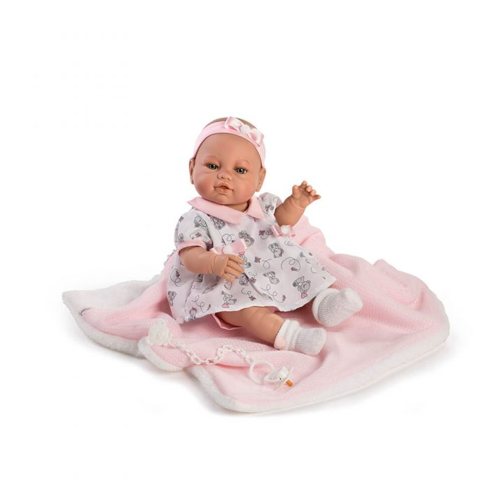Newborn doll with pink blanket 5120