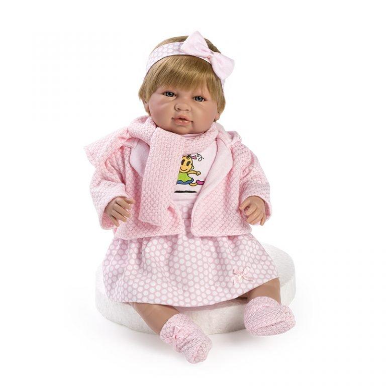 Recién nacida Sara llorona con bufanda rosa 52 cm