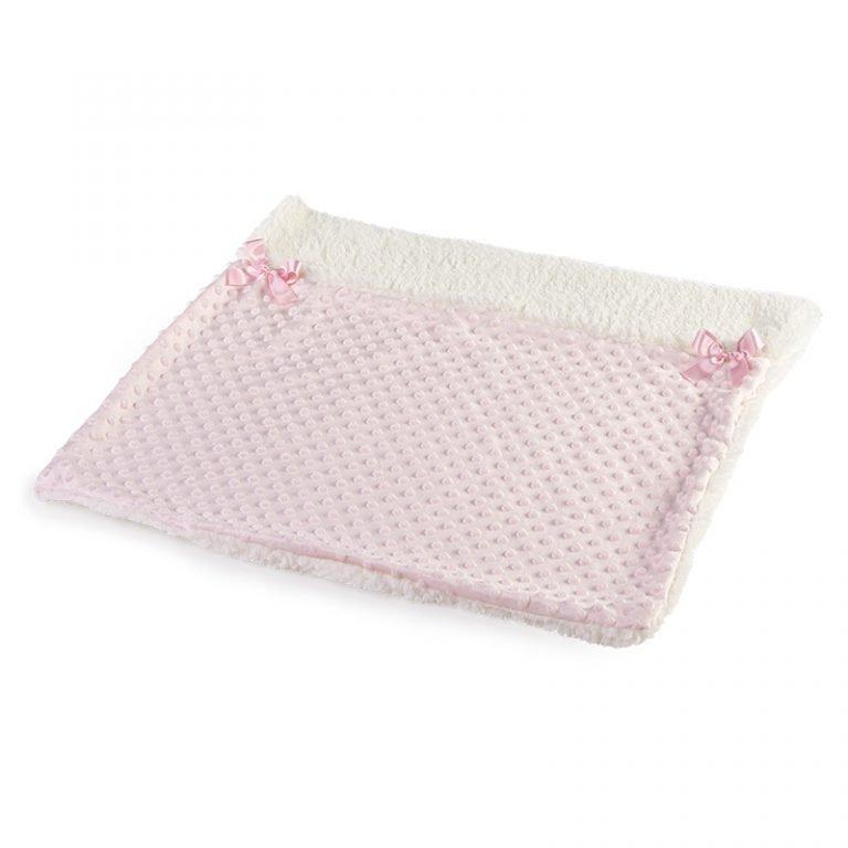 Mantita de punto rosa con lazos 50 largo x 60 ancho